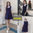 Dress Other / other M,L,XL,XXL Korean version Short sleeve Medium length summer Lapel stripe Cotton ammonia 3087-121