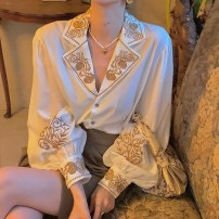 shirt Apricot S,M,L,XL,2XL Winter 2020 other 96% and above Long sleeves commute tailored collar Single row multi button routine Solid color 25-29 years old Straight cylinder Retro Embroidery