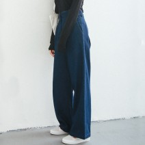 Jeans Spring 2021 Dark blue, light blue S,M,L,XL trousers High waist Wide legged trousers routine 25-29 years old Make old, wash, white, flanging, zipper, multi pocket Cotton denim light colour Bree Wendy 96% and above