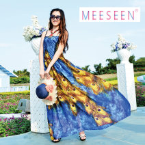 Dress Summer of 2018 Blue light song XL,2XL longuette singleton  Sleeveless Sweet One word collar Elastic waist Decor Socket Big swing other Breast wrapping 25-29 years old Type A Mozart Backless, pleated, printed More than 95% Chiffon polyester fiber Bohemia