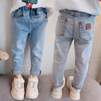 trousers middle-waisted Rubber belt other Autumn 2020 female Laaika Two years old, three years old, four years old, five years old, six years old, seven years old, eight years old trousers spring and autumn Jeans Don't open the crotch There are models in the real shot cotton leisure time Other 100%