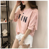 T-shirt Pink quality fabric black quality fabric white quality fabric M L XL 2XL 3XL Summer of 2018 elbow sleeve Crew neck easy routine commute other