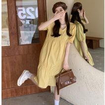Women's large Summer 2021 Yellow, black Big L, big XL, big XXL, big XXXL, big XXXXL, big XXXXL Dress singleton  commute easy Socket Short sleeve Solid color Korean version V-neck fold puff sleeve 18-24 years old 31% (inclusive) - 50% (inclusive) Middle-skirt Lantern skirt