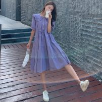 Women's large Summer 2021 Purple, pink Big L, big XL, big M, big 2XL, big 3XL, big 4XL Dress singleton  Sweet easy thin Socket Short sleeve Solid color Double collar Medium length puff sleeve 18-24 years old 31% (inclusive) - 50% (inclusive) Medium length