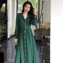 Women's large Spring 2021 green L【100-115】,XL【115-130】,2XL【130-150】,3XL【150-170】,4XL【175-200】 Dress singleton  commute moderate Cardigan Long sleeves Korean version V-neck other 18-24 years old Medium length