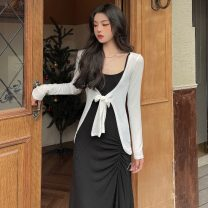 Women's large Summer 2021 Grey suspender skirt, black suspender skirt, white coat Large XL, large XXL, large XXL, large XXXXL, large L Dress Two piece set other Socket Sleeveless Solid color Medium length 18-24 years old Button 31% (inclusive) - 50% (inclusive) longuette