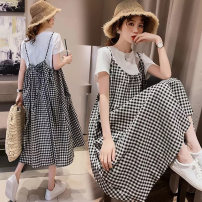 Dress Soft cloud fruit T-shirt + strap skirt M,L,XL,XXL Korean version Short sleeve Medium length summer Crew neck lattice