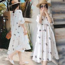 Dress Soft cloud fruit white M,L,XL,XXL Korean version Short sleeve Medium length summer V-neck