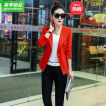suit Spring 2020 Orange L620, black L620, pink L620 S,M,L,XL,2XL Long sleeves have cash less than that is registered in the accounts Self cultivation tailored collar A button Versatile Shrug Solid color L620 71% (inclusive) - 80% (inclusive) cotton Zhengfei clothing