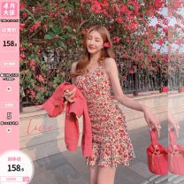 Dress Summer 2021 Decor S,M,L Mid length dress singleton  Long sleeves Sweet V-neck High waist Decor Socket A-line skirt bishop sleeve Others 25-29 years old Type A Auricularia auricula, printed U210349 31% (inclusive) - 50% (inclusive) other other