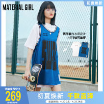 Dress Summer 2021 Royal Blue (spot) Royal Blue (pre-sale) S M L XL Middle-skirt Two piece set Short sleeve street Crew neck Loose waist letter Socket other routine camisole 18-24 years old Type H material girl printing MWFAB2328 More than 95% cotton Cotton 100% Europe and America