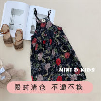 Dress black female Other / other 100 (mini) Cotton 85% others 15% summer princess Skirt / vest Broken flowers cotton A-line skirt Class B 12 months, 18 months, 2 years old, 3 years old, 4 years old, 5 years old