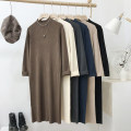 Dress Winter 2020 Blue, gray, black, beige, oatmeal, coffee Average size longuette singleton  Long sleeves commute Half high collar Loose waist Solid color Socket other routine Type H Korean version 71% (inclusive) - 80% (inclusive) other other
