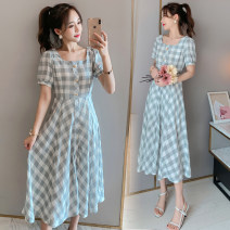 Dress Summer 2020 Picture color M,L,XL,2XL Mid length dress singleton  Short sleeve commute square neck High waist lattice Socket A-line skirt routine Others Type A Korean version 71% (inclusive) - 80% (inclusive) brocade cotton