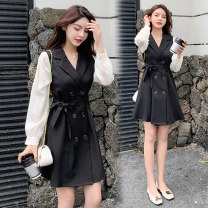 Dress Spring 2021 black M,L,XL,2XL Short skirt singleton  Long sleeves commute tailored collar High waist Solid color double-breasted A-line skirt routine Others Type A Korean version Button 71% (inclusive) - 80% (inclusive) brocade polyester fiber