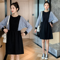 Dress Spring 2021 Picture color M,L,XL,2XL Short skirt singleton  Long sleeves commute Crew neck High waist stripe Socket A-line skirt routine Others Type A Korean version 71% (inclusive) - 80% (inclusive) brocade cotton