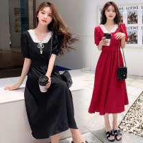 Dress Summer 2021 Black, red M,L,XL,2XL Mid length dress singleton  Short sleeve commute V-neck High waist Solid color Socket A-line skirt routine Others Type A Korean version Stitching, lace 71% (inclusive) - 80% (inclusive) brocade cotton