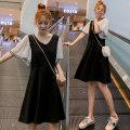 Dress Summer 2020 black M,L,XL,2XL Short skirt singleton  Short sleeve commute Crew neck High waist Socket A-line skirt routine Others Type A Korean version Splicing 71% (inclusive) - 80% (inclusive) brocade cotton