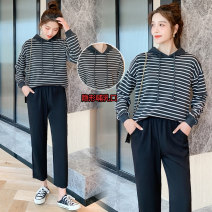 Fashion suit Spring 2021 M,L,XL,XXL Striped top piece, striped top + pants 96% and above cotton