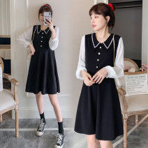 Dress Spring 2021 black M,L,XL,2XL Short skirt singleton  Long sleeves commute Polo collar High waist Solid color Socket A-line skirt routine Others Type A Retro Button 71% (inclusive) - 80% (inclusive) brocade polyester fiber