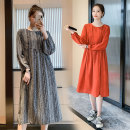 Dress Autumn 2020 Gray (regular pregnant women), orange (regular pregnant women), gray (pregnant women's lactation), orange (pregnant women's lactation) M,L,XL,2XL Mid length dress singleton  Long sleeves commute Crew neck Loose waist Solid color Socket A-line skirt routine Others Type A Splicing
