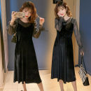 Dress Autumn 2020 black M,L,XL,2XL Mid length dress Fake two pieces Long sleeves commute Crew neck High waist Solid color Socket A-line skirt routine Others Type A Korean version Splicing, mesh 71% (inclusive) - 80% (inclusive) brocade polyester fiber