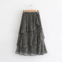 skirt Summer 2020 Average size Black, white Short skirt Sweet Irregular Dot 18-24 years old D200503 other starivy Printing, asymmetry, stitching