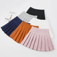 skirt Spring 2020 S,M,L,XL,2XL Short skirt Sweet High waist Pleated skirt Solid color Type A 18-24 years old 81% (inclusive) - 90% (inclusive) other polyester fiber