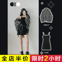 Women's large Autumn 2020 Plaid shirt-1 [cold wind women's advanced sense] black suspender skirt-1 [first love dress] suit-1 [suit skirt women's summer] Dress Two piece set commute easy moderate Cardigan Short sleeve lattice Korean version One word collar Medium length Three dimensional cutting Senwa