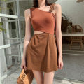 one piece  Princess surana M,L,XL brown Skirt one piece Steel strap breast pad female Sleeveless Solid color backless