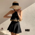 one piece  Princess surana M,L,XL black Skirt one piece With chest pad without steel support female Sleeveless Casual swimsuit Solid color Lotus leaf edge