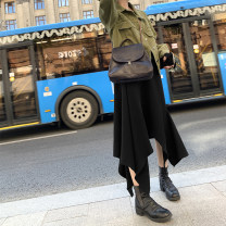 skirt Autumn of 2019 M, L Black, greyish green Mid length dress commute High waist Irregular Solid color Type A 18-24 years old 2019.9.9 51% (inclusive) - 70% (inclusive) Viscose Simplicity