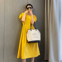 Dress Summer 2020 Yellow, white M, L Mid length dress singleton  Short sleeve commute Crew neck Loose waist Solid color Socket 18-24 years old Simplicity 51% (inclusive) - 70% (inclusive) cotton