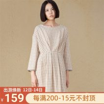 Nightdress Coco Sweet Long sleeves Living clothes Middle-skirt spring lattice youth Crew neck cotton Mosaic decoration More than 95% pure cotton 200g and below