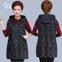 Vest Spring of 2019 black Medium length Hood Versatile Plants and flowers zipper Other / other cotton
