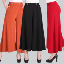 Casual pants Black, army green, dark green, red, brick red, orange, beige XL [waist 2-2-3], 2XL [waist 2-3-2-5], 3XL [waist 2-5-2-7], 4XL [waist 2-7-2-8], 5XL [waist 2-8-3-1] Summer of 2019 Ninth pants Wide leg pants High waist Versatile routine 40-49 years old Other / other