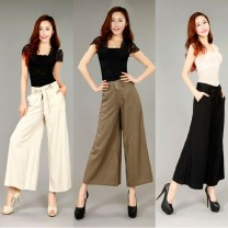 Casual pants Gray, orange, black, army green, kapok, rice leaf, beige, big red flower, blue and white porcelain 2 feet 1 / 28, 2 feet 2 / 29, 2 feet 3 / 30, 2 feet 4 / 31, 2 feet 5 / 32, 2 feet 6 / 33 Spring of 2019 Ninth pants Wide leg pants High waist commute Thin money Other / other Korean version