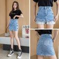 skirt Summer 2021 S M L XL blue Short skirt Versatile High waist Denim skirt 18-24 years old More than 95% Denim aubnu other Embroidered pocket button zipper Other 100%