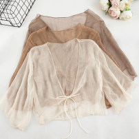 Lace / Chiffon Summer of 2019 White, apricot, black, khaki, light coffee Average size three quarter sleeve Versatile Cardigan singleton  easy have cash less than that is registered in the accounts V-neck Solid color 18-24 years old 31% (inclusive) - 50% (inclusive)