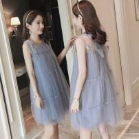 Dress Other / other M,L,XL,XXL Korean version Sleeveless Medium length summer Crew neck