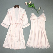 Pajamas / housewear set female Other / other M,L,XL,XXL Pink, apricot, black, red, white Polyester (polyester) Nine point sleeve sexy pajamas autumn Thin money V-neck Solid color double-breasted youth 2 pieces 81% (inclusive) - 95% (inclusive) silk lace 200g and below Short skirt