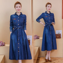 Dress Spring of 2019 Dark blue 873, dark blue 525 M,L,XL,2XL longuette singleton  Long sleeves commute Polo collar middle-waisted Solid color Single breasted A-line skirt routine Type A Korean version Pocket, button Denim