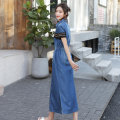 Dress Summer of 2019 Picture color M,L,XL,2XL longuette singleton  Short sleeve commute Polo collar Elastic waist other Single breasted One pace skirt routine Type H Simplicity Frenulum Denim