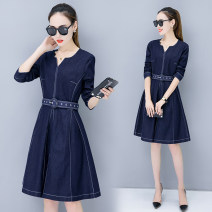 Dress Fall 2017 navy blue S,M,L,XL,2XL Mid length dress singleton  Long sleeves street V-neck High waist Solid color Socket A-line skirt routine Others Type A Pleats, zippers 966# 81% (inclusive) - 90% (inclusive) Denim Europe and America