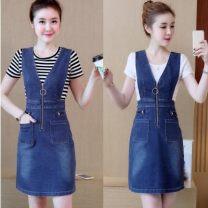 Fashion suit Summer 2020 S,M,L,XL,XXL,3XL Striped T + denim skirt, white T + denim skirt, one piece suspender skirt