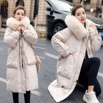 Women's large Winter 2020 Black, off white cotton-padded clothes singleton  commute easy thickening Cardigan Long sleeves Solid color Korean version other polyester Three dimensional cutting routine 18-24 years old pocket 81% (inclusive) - 90% (inclusive) rivet Cotton 71% - 80%