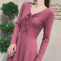 Dress Spring 2021 Taro red S,M,L Mid length dress singleton  Long sleeves commute V-neck High waist Solid color Socket Big swing routine Others 25-29 years old Type A Immortal dust lady Bowknot, lace, thread, tridimensional decoration, bandage, 3D More than 95% knitting other