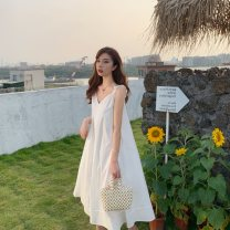 Dress Summer 2021 White, green Average size Mid length dress singleton  Sleeveless Sweet V-neck Loose waist Solid color Socket Big swing routine camisole 18-24 years old Type A Immortal dust More than 95% other cotton Mori