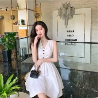 Dress Summer 2021 Blue, white S,M,L Middle-skirt singleton  Sleeveless commute V-neck High waist Solid color Socket A-line skirt routine Others 18-24 years old Type A Immortal dust court More than 95% other other