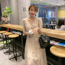 Dress Spring 2021 golden S,M,L Mid length dress singleton  Short sleeve commute Crew neck High waist Decor Socket Big swing routine Others 25-29 years old Type H Immortal dust court Embroidery, splicing, three-dimensional decoration, sequins, gauze mesh, zipper, lace, 3D More than 95% Lace other